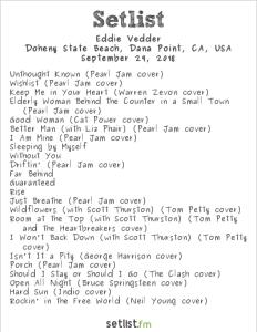 Eddie Vedder @ The Ohana Fest 9/29/18. Setlist.