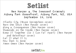Ben Harper & The Innocent Criminals @ Sea.Hear.Now 2018 9/29/18. Setlist.