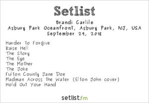 Brandi Carlile @ Sea.Hear.Now 2018 9/29/18. Setlist.