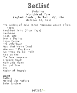 Metallica @ Keybank Center 10/27/18. Setlist.