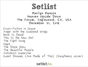 Marilyn Manson at OZZFEST 2018 @ The Forum 12/31/18. Setlist.