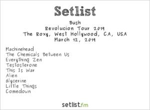 Bush @ The Roxy 3/12/19. Setlist.