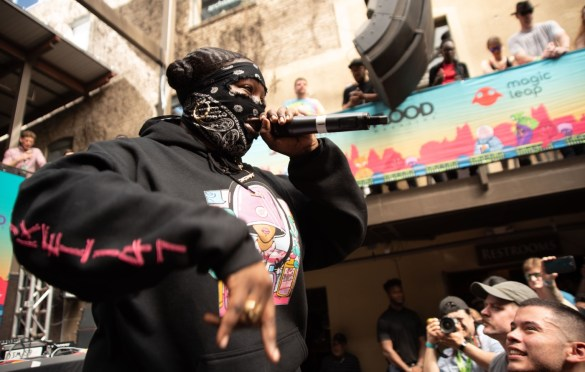 Leikeli47 at SXSW presented by Flood Magazine @ Cedar Street Courtyard 3/13/19.Photo by Mike Golembo (@Instalembo) for www.BlurredCulture.com.