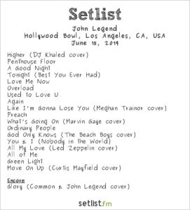 John Legend @ Hollywood Bowl 6/15/19. Setlist.