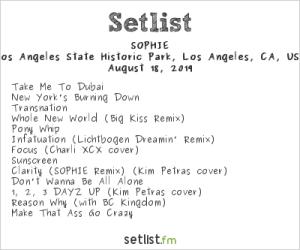 SOPHIE, YOLA DÍA @ L.A. Historic Park 8/18/19. Setlist.