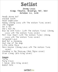 Jenny Lewis @ Kings Theatre 10/24/19. Setlist.