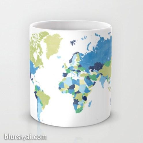 Lime green and blue world map mug 2