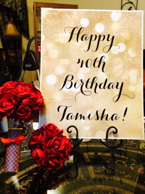 Gold happy birthday sign. Image courtesy of Tiffany.