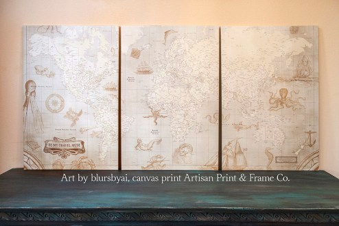 multi panel canvas map sea monsters