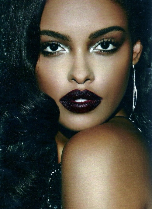 Girl Wearing Dark Lipstick