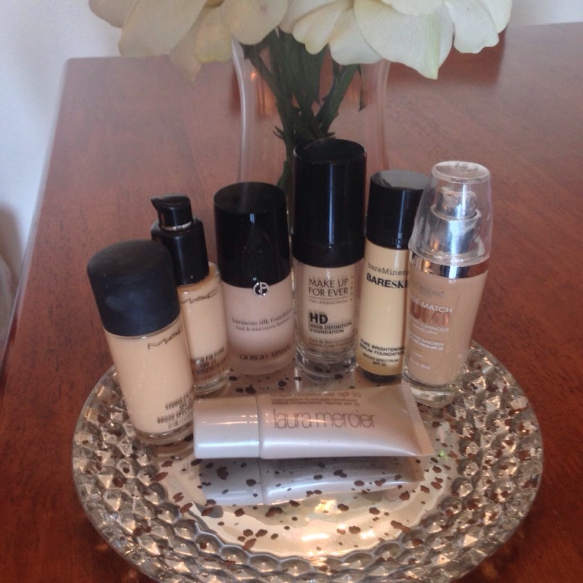 My foundation collection - MAC Studio Fix Fluid, Giorgio Armani Luminous Silk, Make Up For Ever HD Foundation, bareMinerals Bareskin, L'Oreal True Match Lumi, Laura Mercier tinted moisturizer