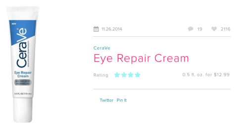 CeraVe Eye Repair Cream review on Beautypedia.com