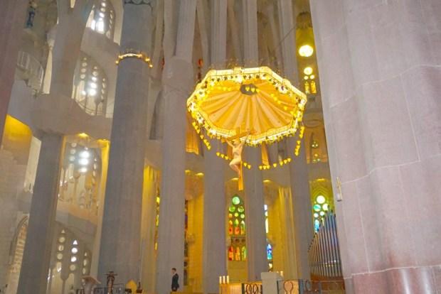 The inside of La Sagadra Familia in Barcelona Spain