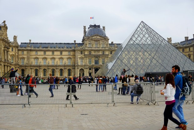The glass pyramids are the entrance to the Louvre