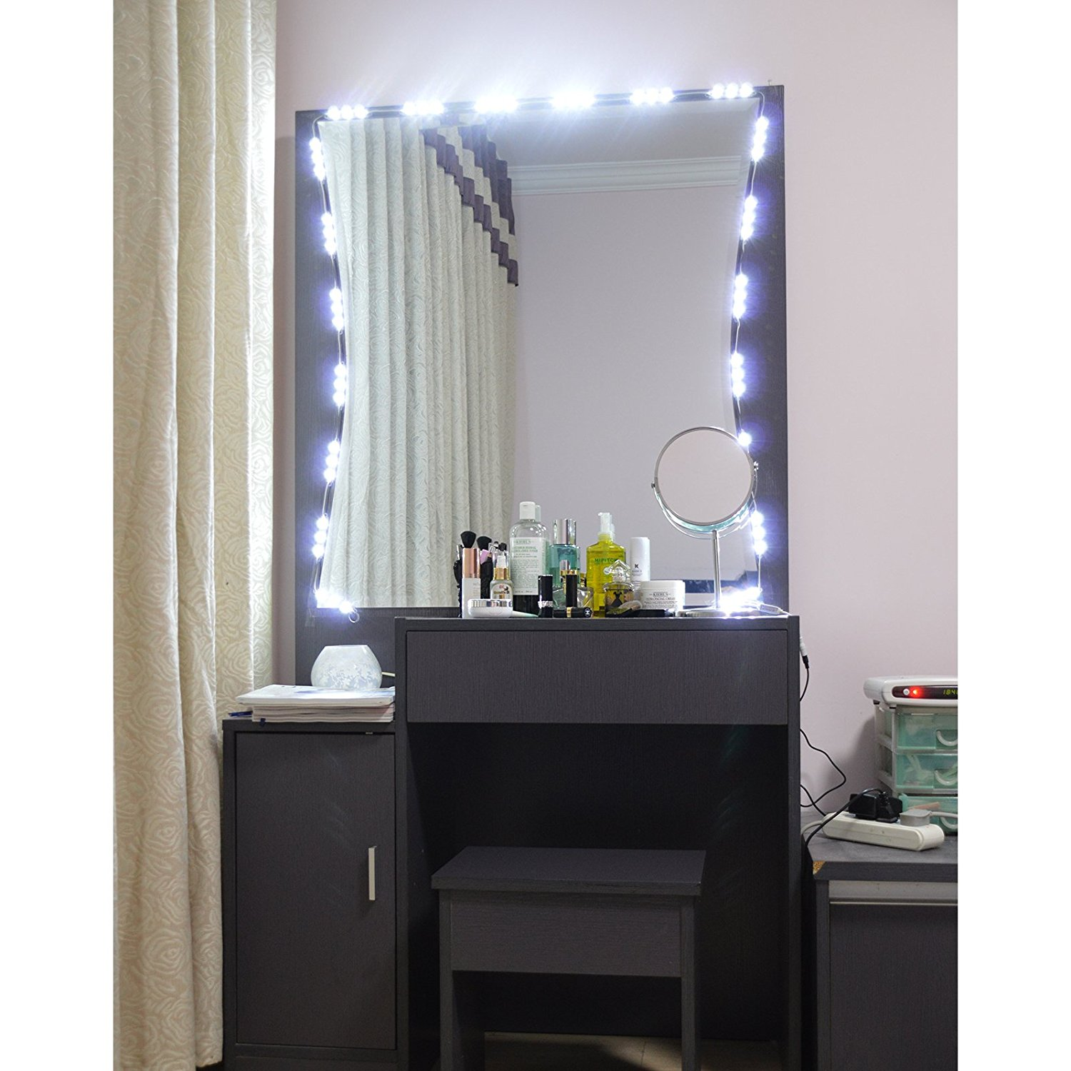 Diy ikea alex vanity blushing in hollywood diy vanity lighted mirror using led lights from amazon aloadofball Image collections