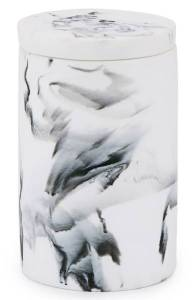 Kassatex Arabesco Resin Cotton Jar white marble jar for vanity storage and organization