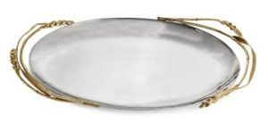 Michael Aram Wheat Oval Platter for makeup display on top of a vanity