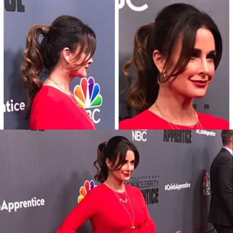 Kyle Richards in a gorgeous curled ponytail at the premier of The Apprentice. Photo from @glambypamelab on Instagram.
