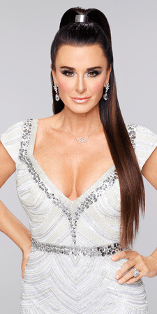 Kyle Richards looking snatched in a high pony on Real Housewives of Beverly Hills