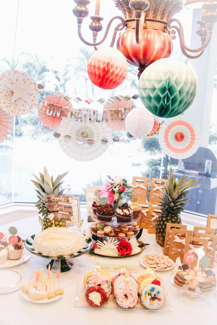 tropcial-bridal-shower-dessert-table-decorations