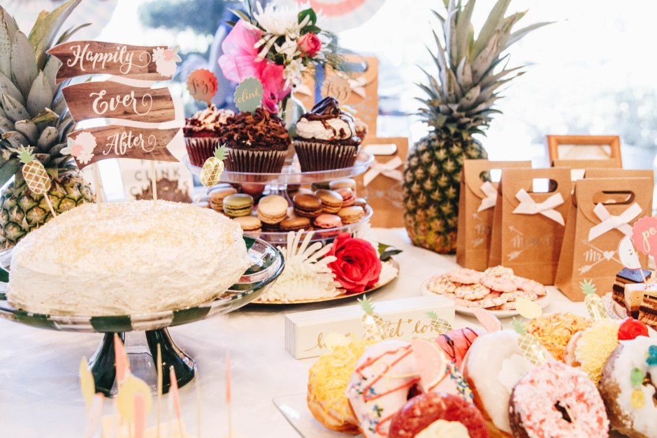 Tropical Bridal Shower Dessert Table Close Up Blushing In Hollywood