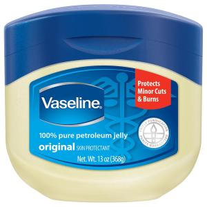 Ramona uses Vaseline petroleum jelly to remove her eye makeup. She likes that it is emollient and keeps her eye area moisturized.