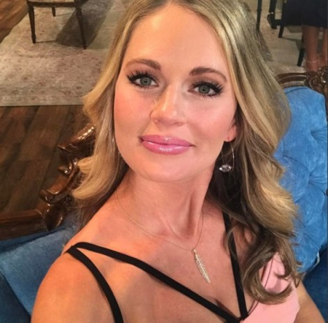 Cameran Eubanks at the Southern Charm reunion wearing Benefit Lolli Tint and Laura Mercier Azalea lip gloss