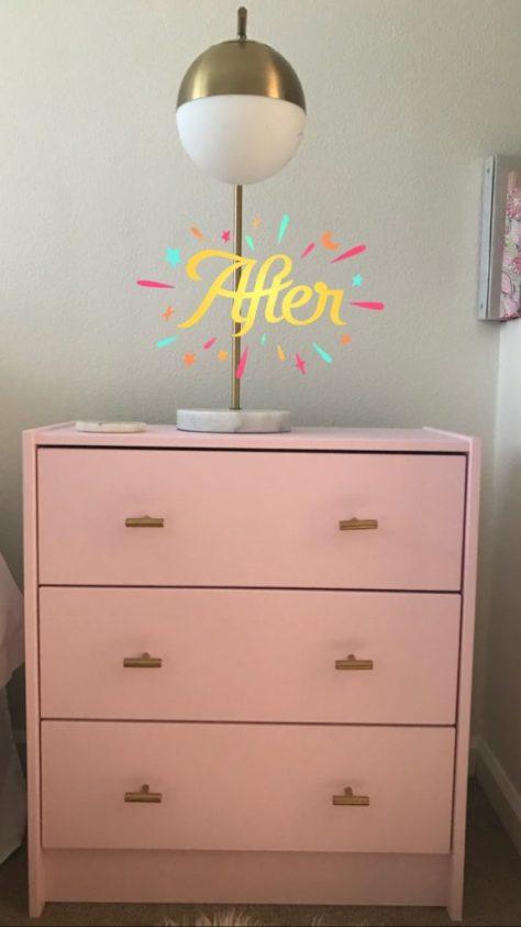 IKEA RAST 3 drawer chest after adding Amazon brass drawer pulls
