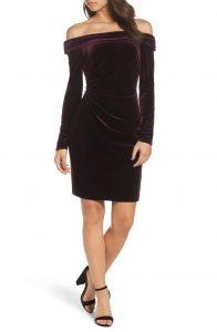 eliza-j-off-the-shoulder-dress-maroon
