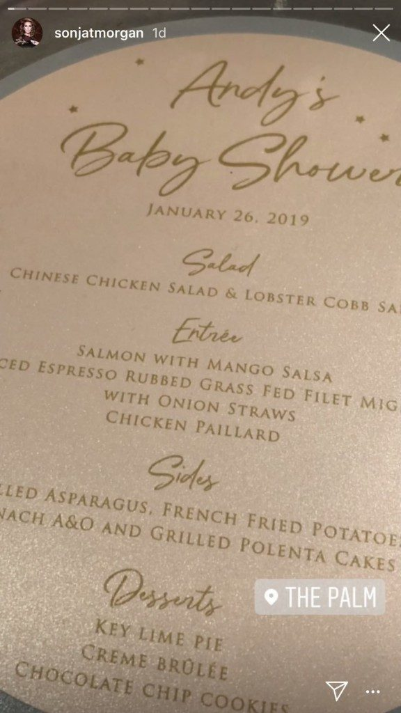 Andy Cohens Baby Shower menu at The Palm in Beverly Hills posted by Sonja Morgan