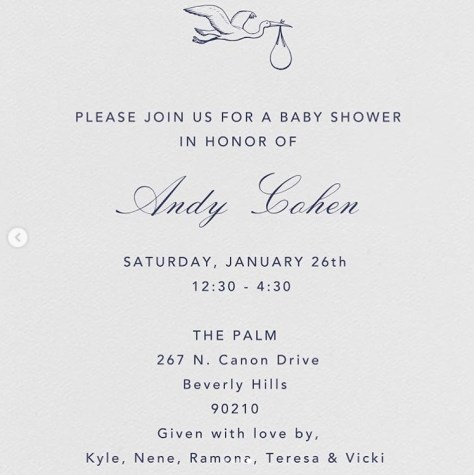 Invitation to Andy Cohen's baby shower