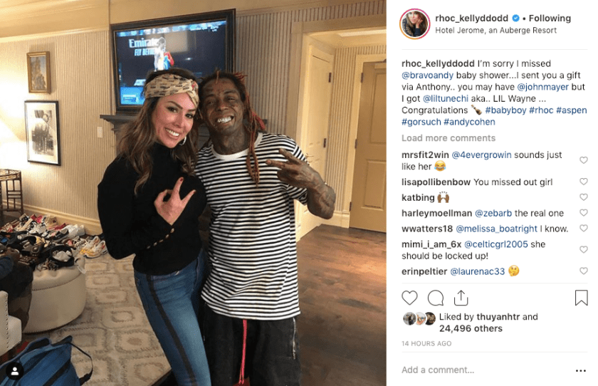 Kelly Dodd in Aspen with Lil Wayne during Andy Cohen's Baby Shower