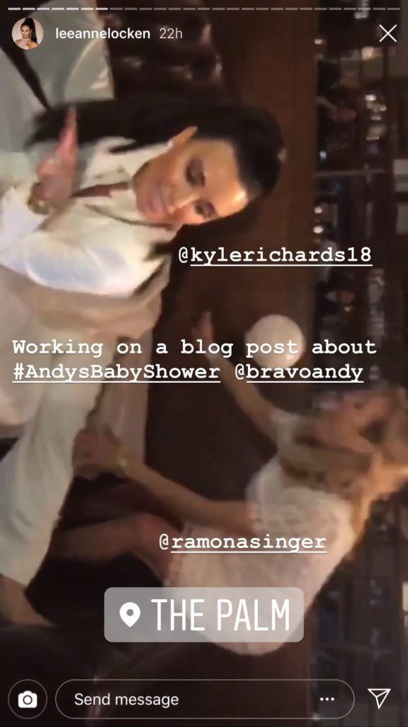 Kyle Richards doing a split at Andy Cohen's baby shower with Ramona Singer
