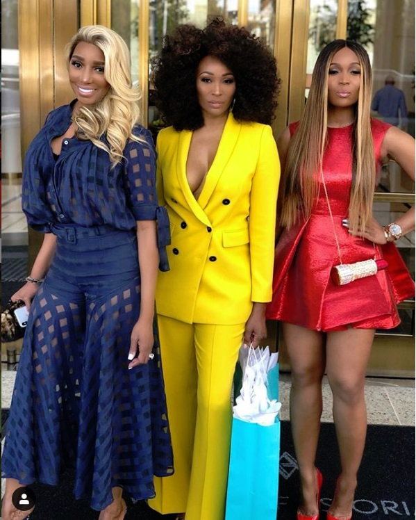 NeNe Leakes, Cynthia Bailey, and Marlo Hampton getting ready to go to Andy Cohen's baby shower in Beverly Hills