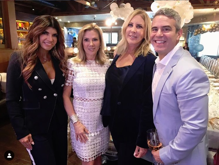 OG Real Housewives Teresa Giudice, Ramona Singer, Vicki Gunvalson, and Andy Cohen at Andy Cohen's baby shower