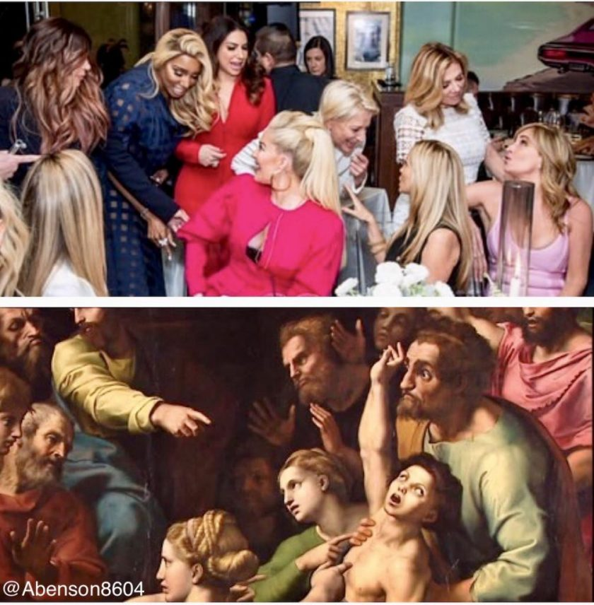Meme comparing this painting to a scene from Andy Cohen's baby shower. By @abenson8604