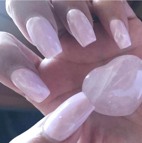 Rose quartz pink crystal nail design and nail art