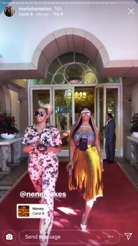 NeNe Leakes and Marlo Hampton leaving the Four Seasons in Beverly HIlls