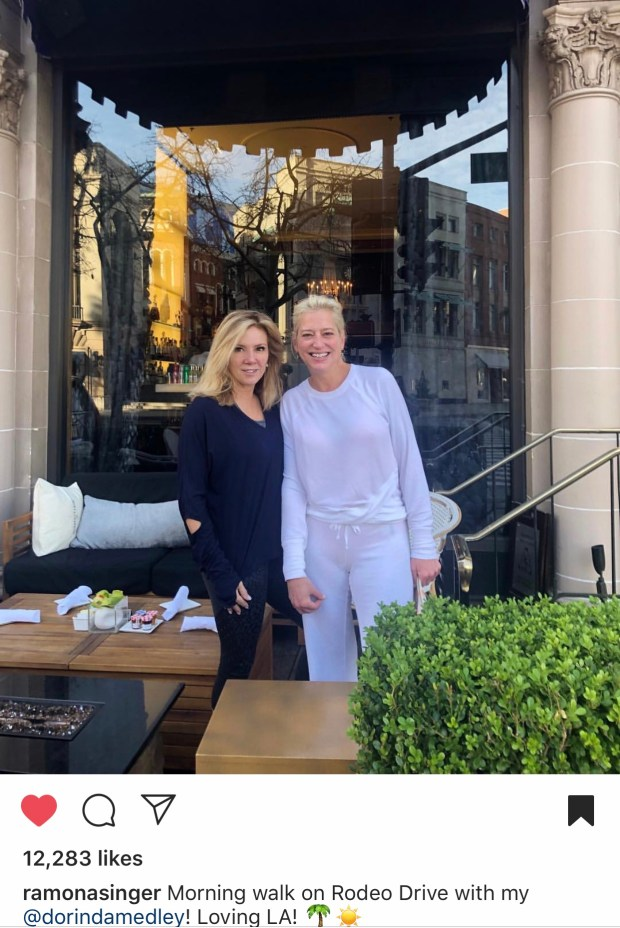 Ramona Singer and Dorinda Medley taking their morning walk on Rodeo Drive