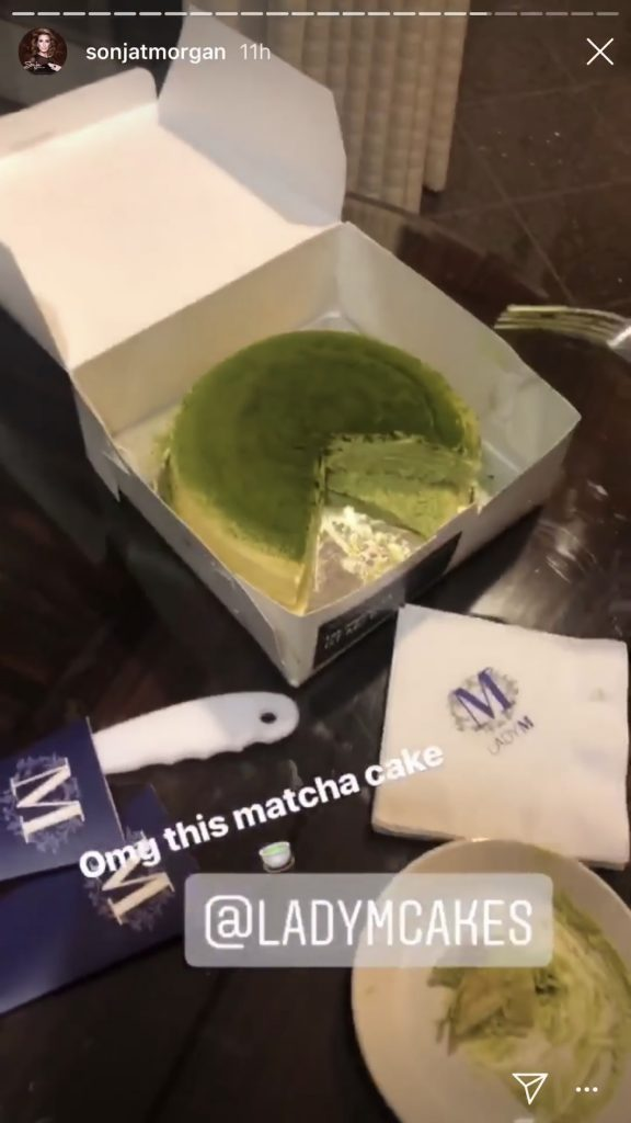 Sonja Morgan enjoying a Lady M Cakes Matcha Cake in Los Angeles