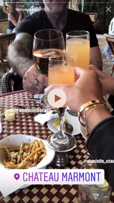 Teresa Giudice, Brandon Liberati, and Danielle Staub having lunch at Chateau Marmont in LA