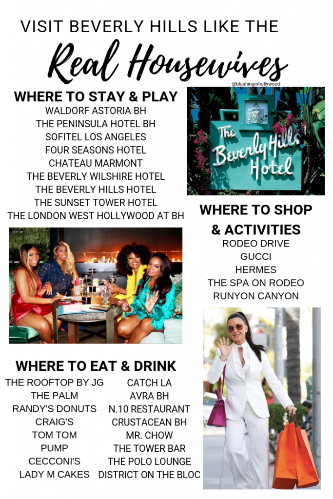 Summary of everywhere the Real Housewives stayed, restaurants they ate at, places they shopped, and activities they did in Beverly Hills when visiting for Andy Cohen's Baby Shower