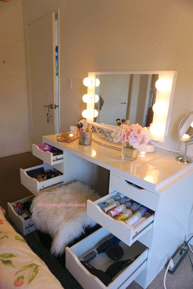 My IKEA ALEX vanity with the drawers open