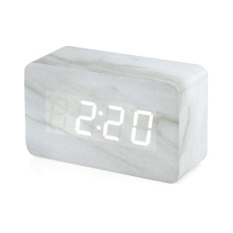 White Marble Digital Desk Clock