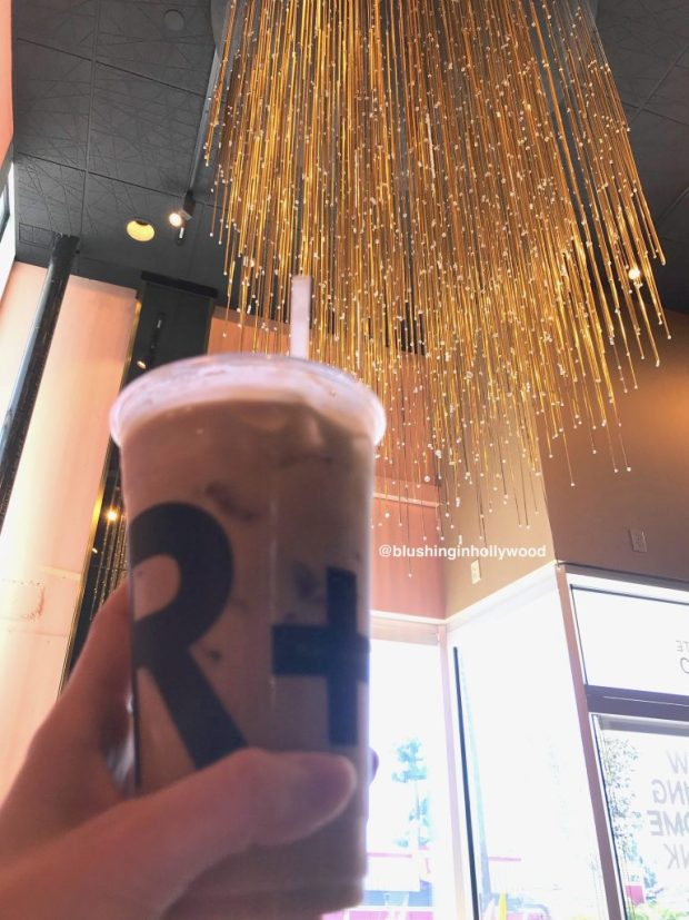 Coconut Sea Salt Cold Brew and the Chandelier at Rubies + Diamonds Coffee Shop in Hollywood