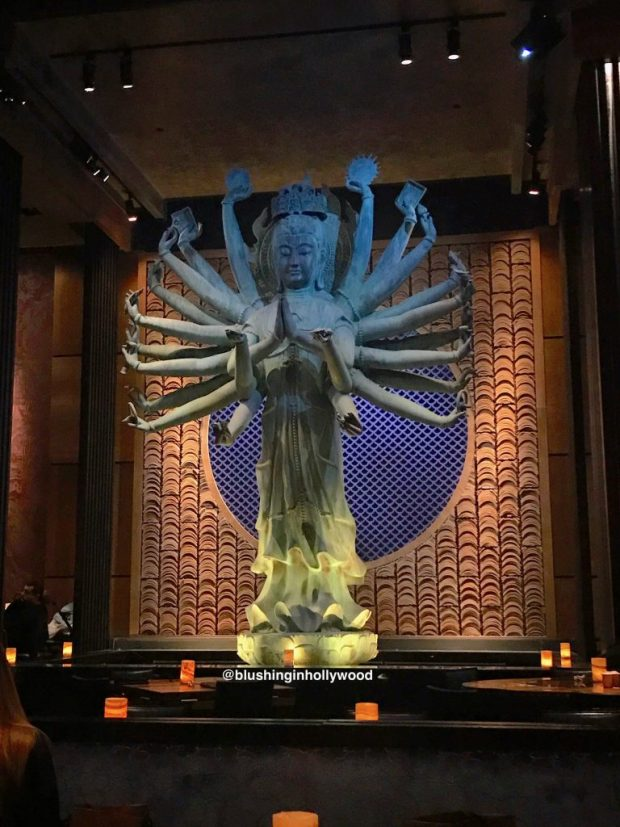 Giant Statue of Quan Yin over a Koi pond at Tao in Hollywood