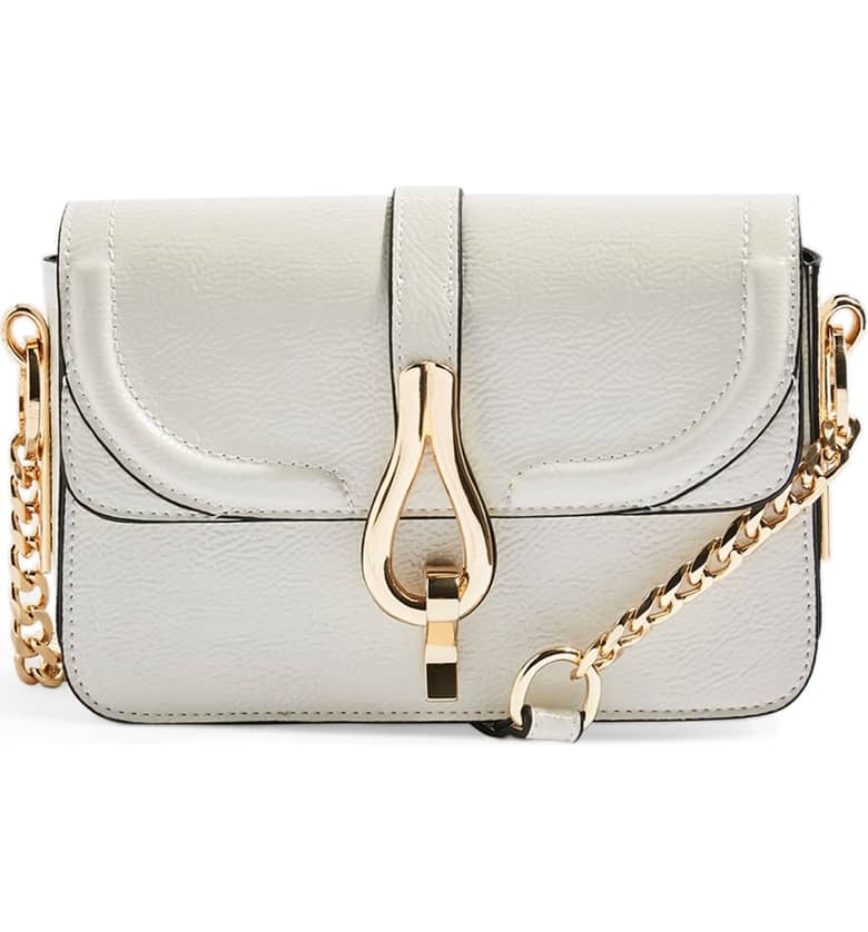 Topshop Capricorn Faux Leather Crossbody Handbag in Cream