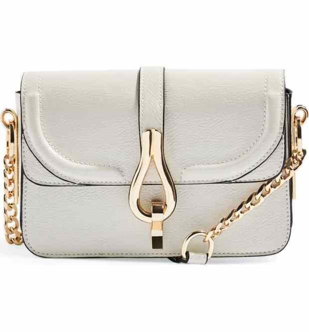 Topshop Capricorn Faux Leather Crossbody Handbag in Cream