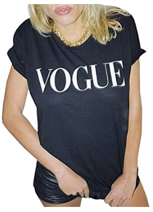 Black Short Sleeve VOGUE Graphic T Shirt