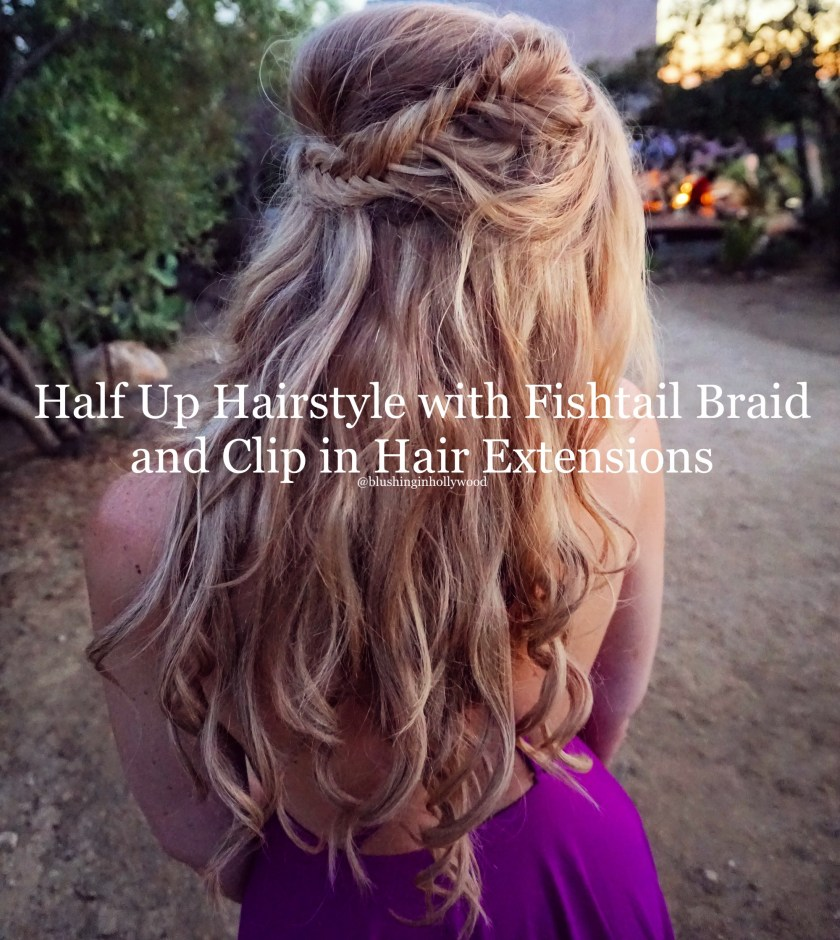 Half up hairstyle with fishtail braid loose curls and hair extensions header